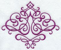 The filigree design embroidered on a satin stole