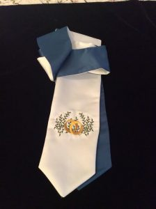 wedding ring stole design on white satin with aegean blue back