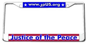 frame for a Justice of the Peace license plate