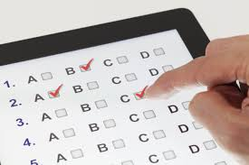 multiple choice test on a tablet
